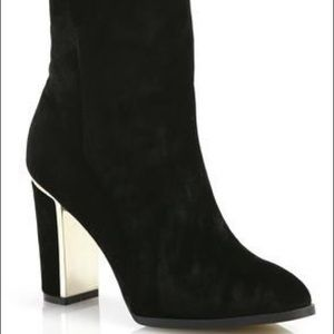 Black Suede High Heel Boots with Gold Trim